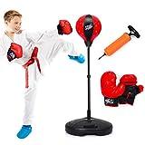 Costzon Kids Boxing Set, Height Adjustable Punching Ball Stand, Hand Pump, Boxing Gloves for Children Boys & Girls, Punching Bag Freestanding Set (Kids)