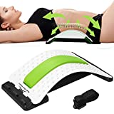 Back Stretcher - Lower and Upper Back Pain Relief, Lumbar Stretching Device,Posture Corrector - Back Support for Office Chair | Get Muscle Tension (White/Green)