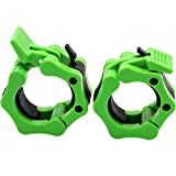 "Barbell Collars 2 Inch Quick Release Pair Locking 2"" Pro Olympic Bar Clip Lock Barbell Clamp 45lbs Weights Plates Clips Workout for Weightlifting Fitness Training (Neon-Green)"