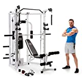 Marcy Smith Cage Combo Machine with Workout Bench and Heavy-Duty Total Body Strength Weight Bar Gym Equipment, White