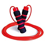 Limm Adjustable Jump Rope Workout - Ideal for All Ages & Skill Levels, Workout and Exercise, Boxing and Cardio, Indoor/Outdoor, Comfortable Handles, 5mm Thick Plastic/PVC Rope (Red and Black)