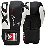 RDX Boxing Gloves Genuine Cowhide Leather, Muay Thai Kickboxing MMA Sparring Training, Advanced TAKKA Closure, Max-Shock Padding, Ventilated, Punch Bags Speed Ball Focus Pads Workout, 10 12 14 16oz