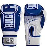 Ringside Apex Boxing Kickboxing Muay Thai Training Gloves Gel Sparring Punching Bag Mitts, L/XL, Blue/White