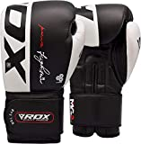 RDX Boxing Gloves for Muay Thai, Genuine Cowhide Leather Mitts for Sparring, Kickboxing Fighting, Heavy Punch Bag Training, Focus Pads, Grappling Dummy and Speed Ball Punching