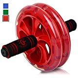 BIO Core Ab Roller - Fitness Wheel & Abdominal Carver to Workout, Exercise & Strengthen Your Abs & Core - Plus, Get A Free Pro Knee Mat to Supplement Your Training for A Limited Time - Red
