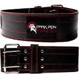 Dark Iron Fitness Weight Lifting Belt for Men & Women - 100% Leather Belts, Adjustable Back Support & Stability for Gym, Weightlifting, Strength Training, Squat orDeadlift up to 600 lbs