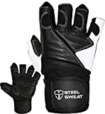 Steel Sweat Weightlifting Gloves - 18 inch Wrist Wrap Support for Workout, Gym and Fitness Training - Best for Men and Women Who Love Weight Lifting - Leather ZED Large