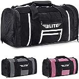 Boxing gym duffle Bag For MMA, BJJ, Jiu Jitsu gear, Elite Sports duffel athletic gym boxing bag (Black/White, Small)