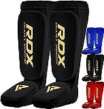 RDX Shin Guards Kickboxing Muay Thai, SATRA Approved, MMA Leg Instep Protection Pads, Sparring Fighting Training Martial Arts Boxing, Elasticated Padded Protector, karate BJJ Taekwondo Gear, Men Women