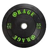Rage Fitness PRO Olympic Bumper Plate (Sold Individually- - 10lb, 15lb, 25lb, 35lb, 45lb), Steel Insert, Strength Training, Bench Press, Squats, Powerlifting, Black/Green, 35 lb (CF-WT835)