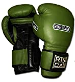 Ring to Cage 20oz, 22oz, 24oz Deluxe MiM-Foam Sparring Gloves - Safety Strap Boxing Training Gloves, for Boxing, MMA, Muay Thai, Kickboxing (16oz, Marine Green/Black)