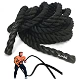 "NEXPRO Battle Rope Polydac Undulation Rope Exercise Fitness Training - 1.5"" Width Avail. in 30ft, 40ft, 50ft Length Black (40 Ft. Length)"