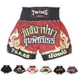 Twins Special Muay Thai Boxing Shorts (T-21 Lumpini Red/Gold,L)