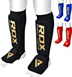 RDX Shin Guards for Muay Thai, Kickboxing, MMA Fighting and Training, Approved by SATRA, Instep Leg Protector Foam Pads for Martial Arts, Sparring, Protective Gear for BJJ and Boxing