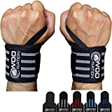 """WOD Nation Wrist Wraps Weightlifting for Men & Women - Weight Lifting Wrist Wrap Set of 2 (12"""" or 18"""") (18 Inch - Black/Grey)"""