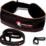 Dark Iron Fitness Dip Belt – Padded Leather Weight Lifting Belts w/ 40 Inch Strap for Squats & Pull Ups - Men & Women Weightlifting up to 270lbs