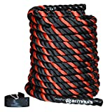 "EliteSRS 30ft Battle Rope Kit 2"" Fitness Workout - Sleeve - Anchor Straps (Red)"