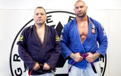 WWE star and actor Dave Batista receives his BJJ purple belt